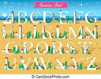 Summer Font. White houses on the beach