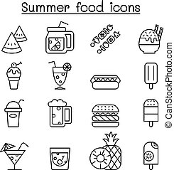 Summer food icon set in thin line style