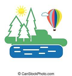 Summer Forest Air Balloon Flight