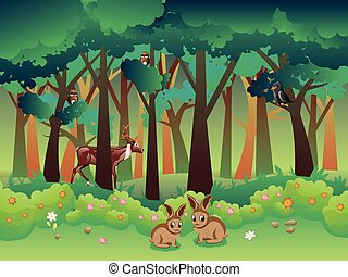 Summer Forest and Animals