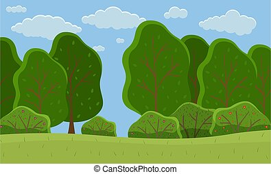 Summer forest, big trees with foliage round shape, scenery with green meadow, bushes and cloudy sky