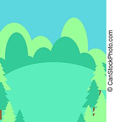 Summer forest landscape cartoon style. Forest lawn background