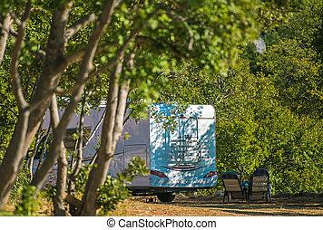 Summer Forest RV Camper Camping