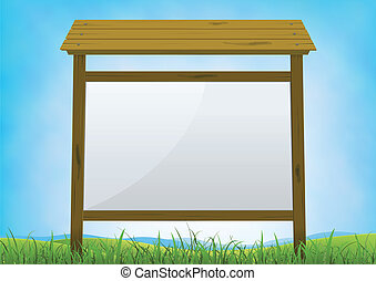 Illustration of a cartoon horizontal blank wood billboard sign on a summer or spring season background