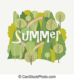 Summer forest with rainbow on white background