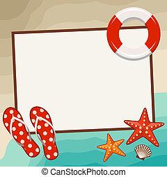 Summer frame with beach symbols. Vector illustration