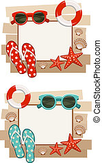 Summer frame with beach symbols.