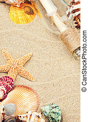 Summer frame with colorful sea shells on sand