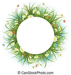 Summer frame with green grass, flowers, butterflies