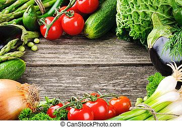Summer frame with fresh organic vegetables