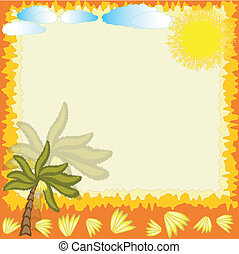 Summer frame with palm and bananas.