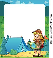 Summer frame with scout girl theme 2