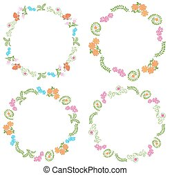 summer frames with flora and fauna