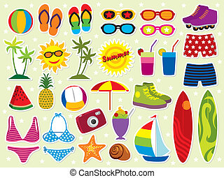 Fresh summer holiday design elements. More summer elements in my portfolio.