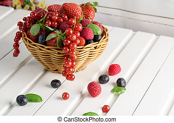 summer fruit, raspberry, blueberry, and strawberry