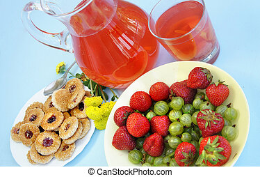 Summer fruits and drinks