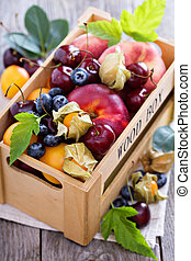 Summer fruits in a crate