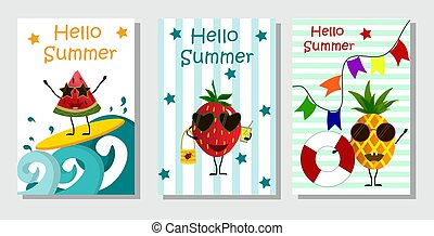 Fruits on vacation in summer - watermelon, pineapple, strawberry.