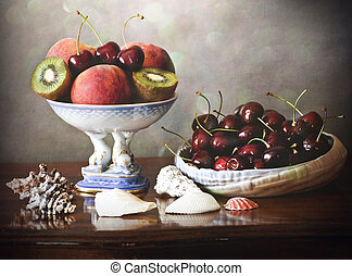 summer fruits tray, plate and shell