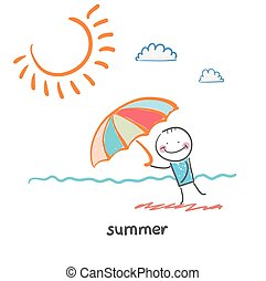 summer. Fun cartoon style illustration. The situation of life.