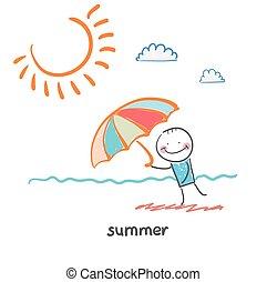 summer. Fun cartoon style illustration. The situation of life.