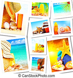 Summer fun concept collage, sunny colorful abstract background with many travel and tourism images