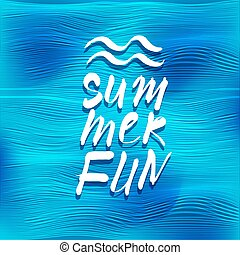 Summer fun lettering over vector sea background