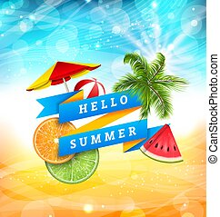 Summer Fun Poster Design with Watermelon, Umbrella, Beach Ball, Slices of Orange and Lime