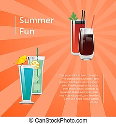 Summer Fun Poster with Bloody Mary Cocktail Vector - Summer...
