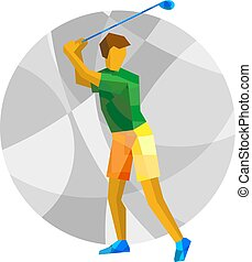 Summer games - Golf. Golfer with abstract patterns