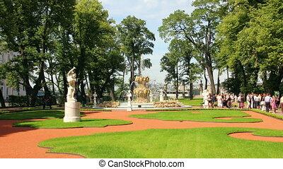Summer garden park in St. Petersburg Russia - timelapse in motion
