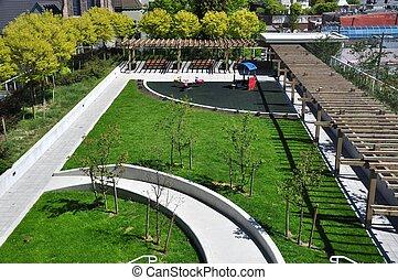 Summer garden view in the park