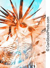 summer girl double exposure