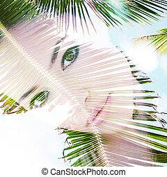 summer girl portrait double exposure
