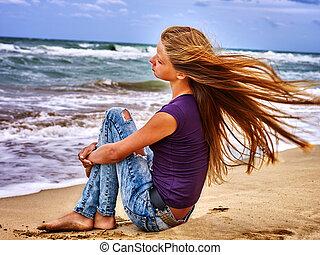 Summer girl sea look on water.