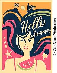 Summer girl web banner