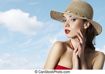 summer girl with hat