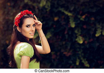 Summer Girl with Red Floral Crown