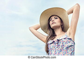 Summer Girl With Sun Hat