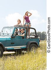 Summer girls having car trip