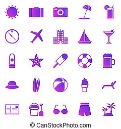 Summer gradient icons on white background