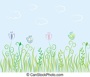 Summer grass background with flowers