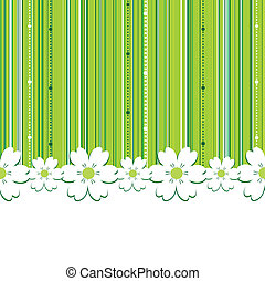 Vector abstract background, with vertical stripes, flowers and space for text.