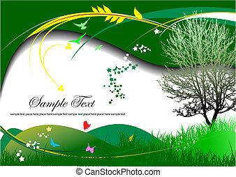 Summer green background. Vector illustration