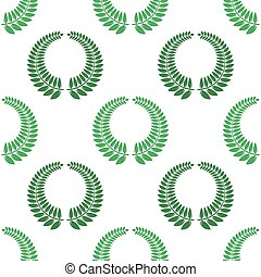 Summer Green Leaves Isolated on White Background. Seamless Different Leaves Pattern