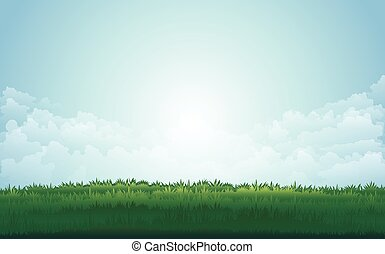 Summer green meadow and mountain peaks landscape with sunset. vector illustration