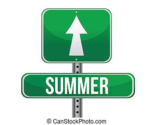 summer green traffic road sign