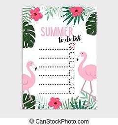 Summer greeting card, invitation. Wish list. Flamingo bird,...