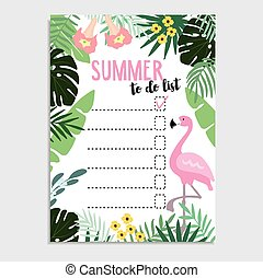 Summer greeting card, invitation. Wish list or to do list....