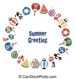Summer greeting with Japanese summer elements, watermelon,...